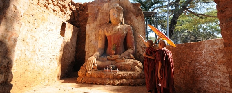 Bagan Pagoda and two novices